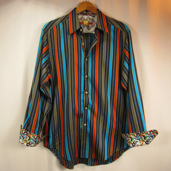 Robert Graham Festival Lights Reversible Classic Fit Shirt Size LARGE NWT $298